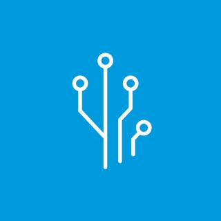White icon of lines with dots on a blue background.