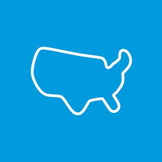 A white icon of the outline of the United States on a blue background.
